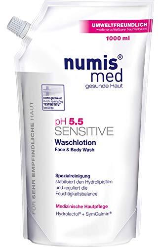 numis med Waschlotion Nachfüllbeutel ph 5.5 SENSITIVE - Körperlotion vegan & seifenfrei - Lotion für sensible, feuchtigkeitsarme & zu Allergien neigende Haut (1x 1000 ml)