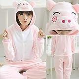 Handaxian Pijamas Damas Adulto Onesies Animales Pijamas de Invierno Pijamas Pijamas de Franela Set Cerdo S