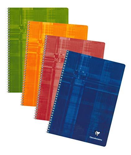 Clairefontaine 68141C Spiralbuch (DIN A4, 21 x 29,7 cm, französische liniert, 50 Blatt) 1 Stück farbig sortiert