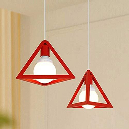 Osaladi - Lampadario a sospensione industriale, a forma di gabbia in ferro battuto, triangolo LED, geometrico, a sospensione, per isole di cucina, sala da pranzo, soggiorno, colore: Nero, rosso, media