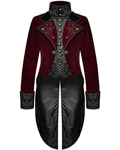 Devil Fashion Hommes Gothique Queue de Pie Veste Rouge Velours Noir Brocart Victorien Steampunk Régence Vampire - Rouge, XL