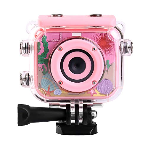Lucky-seller Kids Action Camera,2.0-inch 12MP 1080P HD Digital Sports Camera,Waterproof Anti-Shake Action Video Recorder,Best Gift for Children,with a Waterproof Sports Kit,Supports 32GB Card(Pink)