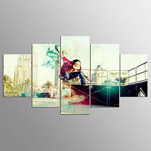 WJDJT foto's skateboard-ideeën wandschilderij 200 x 100 cm vlies - canvas foto wandschilderijen woonkamer woning deco kunstdruk 5-delig modern wand ophangen home decoratie 125x60cm