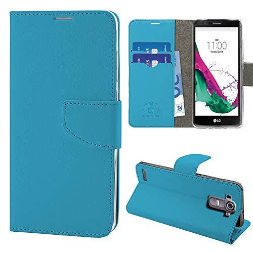 N NEWTOP Cover Compatibile per LG G4, HQ Lateral Custodia Libro Flip Chiusura Magnetica Portafoglio Simil Pelle Stand (Azzurro)