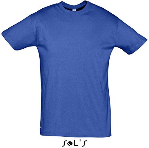 Sol'S Regent - Tee-Shirt Homme Manches Courtes à col Rond - 100% Coton Semi-peigné - Royal - XL