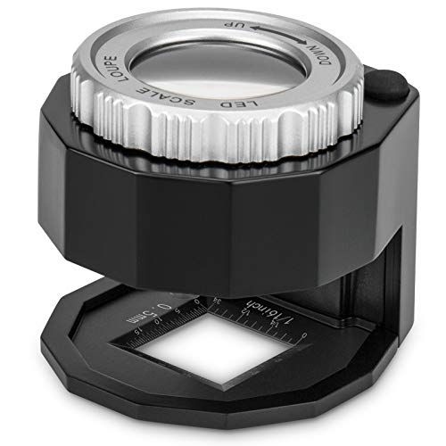 Jeweler Magnifying Glass with Led Light, 30x Illuminated Eye Loupe Magnifier on Stand, Portable Desktop MetalEye Loop for Coin Stamp Textile Optical Jewelry Currency