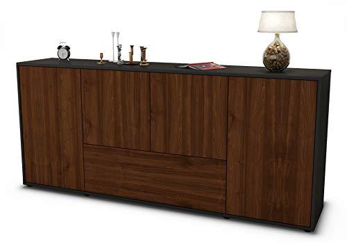 Stil.Zeit Sideboard Eli/Korpus anthrazit matt/Front Holz-Design Walnuss (180x79x35cm) Push-to-Open Technik