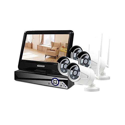 Monland Cámara inalámbrica NVR de 8 canales con 4 piezas de 1080P interior/exterior, cámara de vigilancia de 10,1 pulgadas, visión remota, enchufe UE
