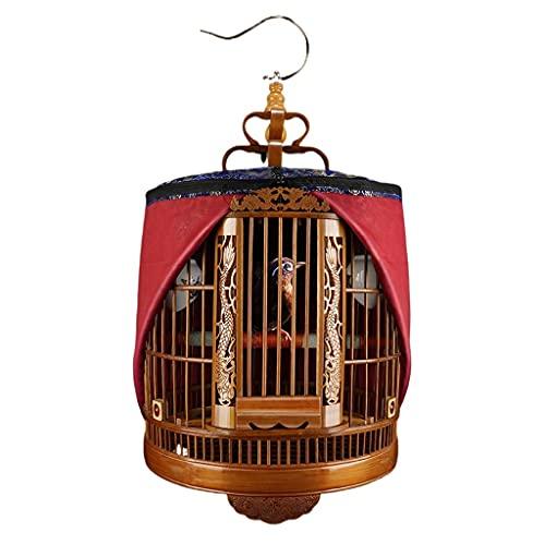FANGFHOME Jaulas y Accesorios Jaula para pájaros Grande Tallada con Cubierta de Jaula Jaula para pájaros Jaula portátil de Viaje Myna candidiasis Jaula de bambú Vieja Hecha a Mano