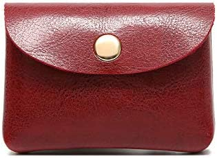 Leather Coin Purse Keychain for Women, Coin Pouch with Card Holder Pocket with Button Change Purse Wallet Clutch Organize (red)