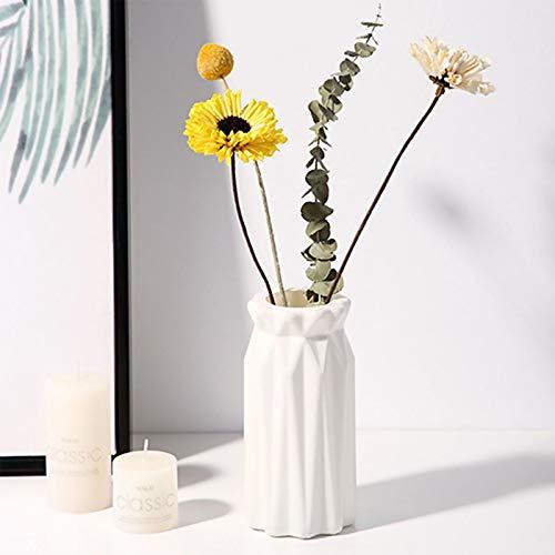 King Style Nordic Vase, Kunststoff Vasen für Blumen, Moderne Geometrische Blumenvasen für Wohnzimmer/Büro/Home Decoration/Hochzeit Dekoration (weiß)