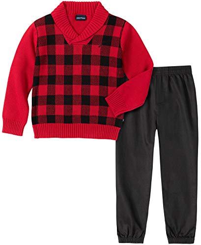 Nautica - Juego de 2 suéteres con Pantalones para niño, Cuadros Rojo, 7