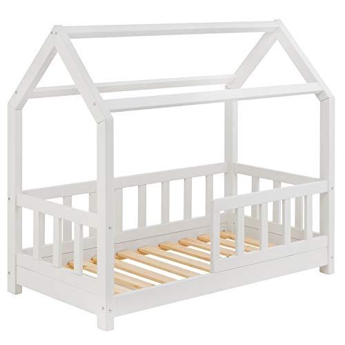 Hausbett für Kinder 70x140 cm - Schönes Kinderbett aus Holz mit Rausfallschutz | Jugendbett im skandinavischen Haus Stil | 70 x 140 Kiefer Bett inkl. Lattenrost | Massivholz Weiß