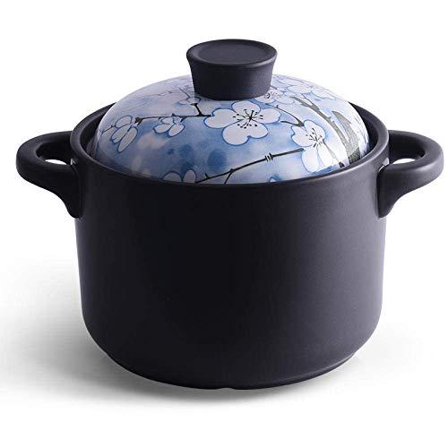 Cazuela de arcilla Olla de terracota Cazuela de cerámica Cazuela de cerámica - Calentada uniformemente y rápidamente, Verde y ahorra energía Duradera y fácil de limpiar - Blue_Capacity 3.5L
