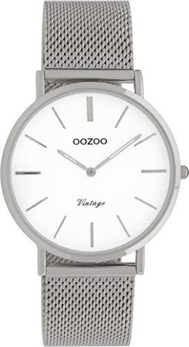 Oozoo Vintage Damenuhr mit massivem grobmaschigem Edelstahl Milanaise Metallband 36 MM Silberfarben/Weiss C9902