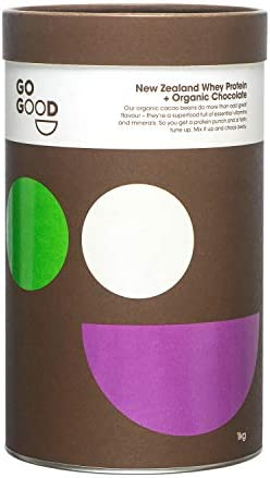 Go Good Whey Protein Powder 100 New Zealand Grass Fed Whey Protein Organic Chocolate 2 2 Pound product image