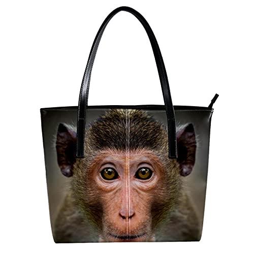 LORVIES India Monkey Gorro Macaque Face Bolso bandolera de piel sintética y bolsos de mano para mujer