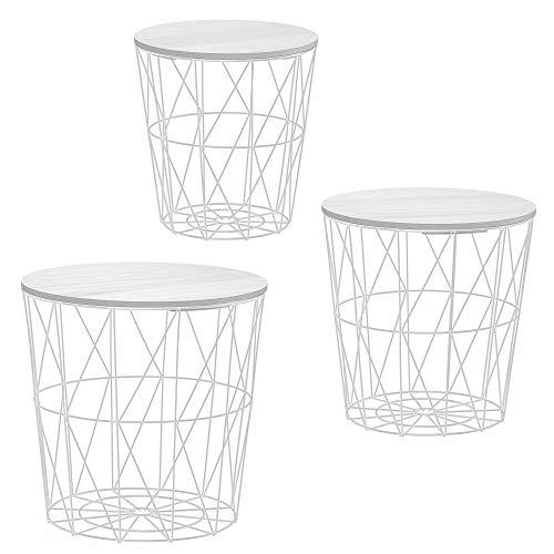 Beistelltisch 3er Set Couchtisch im Industrie Design aus Metall mit Holz Tischplatten Ø 29 cm Ø 34 cm Ø 39,5 cm (3er Set weiß)