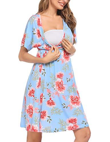 Unibelle - Chemise de nuit de grossesse - En coton - Avec manches 3/4 - Pour femmes enceintes et allaitantes - S-XXL