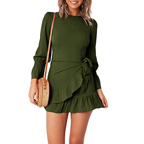 WEEPINLEE Womens Long Sleeve Round Neck Ruffles Wrap Dresses Party Dress (Apparel)