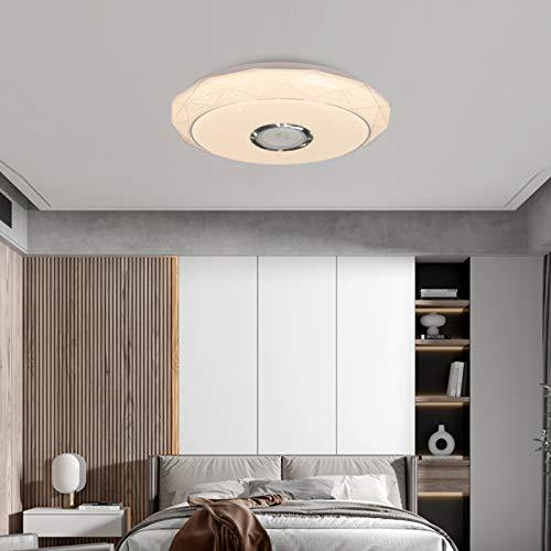 Lámpara de techo con altavoz Bluetooth de 24 W, 16,5 x 3,9 pulgadas, control por aplicación y mando a distancia, siete colores de gradación, poco ruido, luces LED de techo para dormitorio
