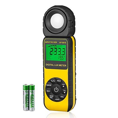 AOPUTTRIVER AP-881E Belichtungsmesser, Digitale Luxmeter, Lichtmessung Photometer 300,000 Lux mit Daten halten, LCD mit Hintergrundbeleuchtung,270°drehbarem Detektor für LED Zuchtpflanze (Gelb)