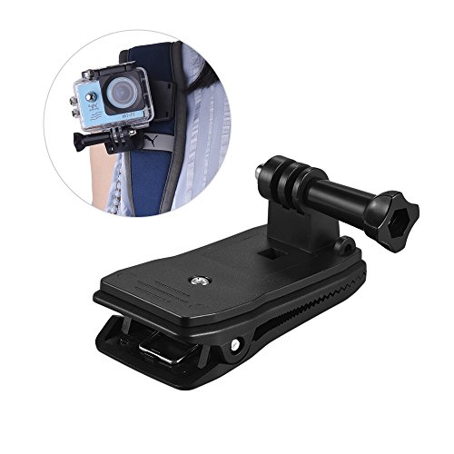 Andoer Backpack Strap Cap Clip Mount 360 Degree Rotary Clamp Arm for GoPro Hero 6/5/4/3+ for Xiaomi Yi Lite 4K + Action Camera