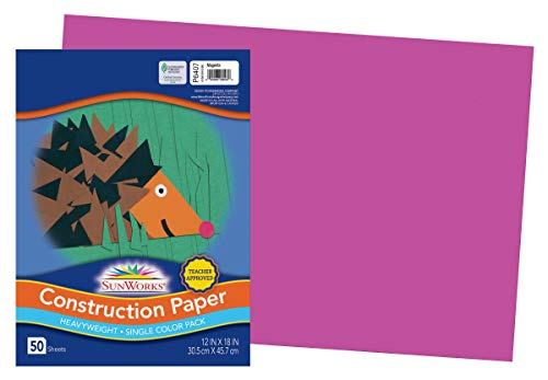 PACON SunWorks Construction Paper, Magenta, 12 x 18, 50 Sheets, 6407