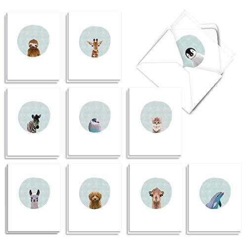 The Best Card Company - 20 Cute Kids Cards Boxed (4 x 5.12 Inch) - Assorted Blank Set (10 Designs, 2 Each) - Animal Portrait Mode AM7182OCB-B2x10