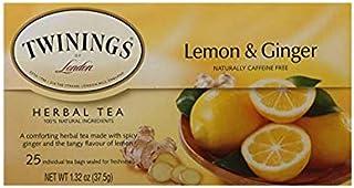 Twinings of London Lemon & Ginger Herbal Tea Bags, 25 Count