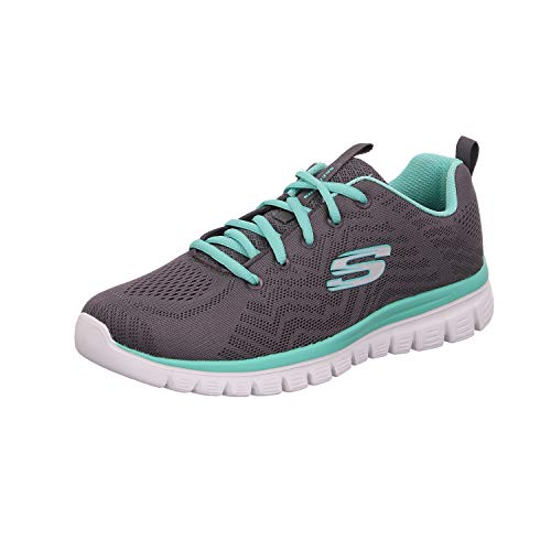 Skechers Women 12615 Low-Top Trainers, Grey (Charcoal Mesh/Green Trim Ccgr), 3 UK (36 EU)