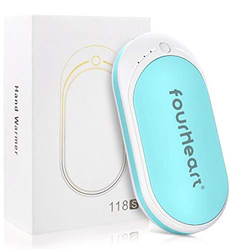 Four Heart Wiederaufladbare 2in1 Handwärmer +Power Bank, 5200mAh USB/USB-C Double-Side Handwärmer elektrisch Taschenwärmer für iPhone, Samsung Galaxy und mehr (Blau+Weiß, USB-C)
