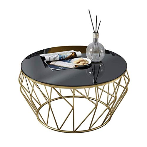 Woonkamer round salontafel Tables Coffee Table End Table, gladde ronde gehard glas Geometric Gold metalen frame Design, for decor bank in de woonkamer van het bed Laptop Desk Moderne woonkamer ronde t