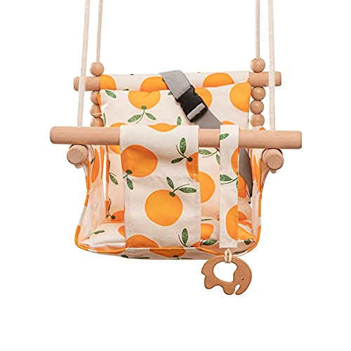Baby Garden Swing Canvas Chair Hanging Wood Outdoor Baby Toy Outdoor Small Basket Safe Recreation for Children Toys Orange Anti-tilt Cradle