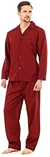 Mens Plain Poly Cotton Traditional Pyjamas Set Pjs Top & Bottoms with Contrast Piping