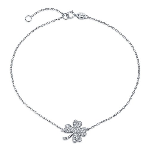 Four Leaf Clover Shamrock Flower Anklet Lucky Charm Cubic Zirconia CZ Link Ankle Bracelet For Women Sterling Silver