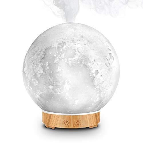 Difusor de aceites esenciales, difusor de aromaterapia, lámpara de escritorio LED con función de humidificación con niebla fría, luminosidad ajustable y modo de niebla