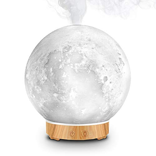 MEIDI Essential Oil Diffuser - Aromatherapy Diffuser, LED Desk Moon Lamp with Cool Mist Humidifier Function, Adjustable Brightness and Mist Mode