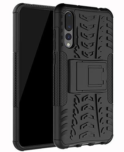 Yiakeng Cover Huawei P20 PRO, Doppio Strato Antiurto Protezione Silicone con Kickstand Rugged Custodia per Cover Huawei P20 PRO (Nero)