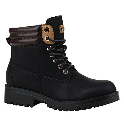 Stiefelparadies Damen Stiefeletten Worker Boots mit Blockabsatz Metallic Profilsohle Flandell, 39...
