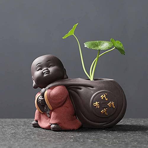 XJJZS Tea DE CERÁMICA Adornos para Mascotas Pequeña Estatua de Buda Monje Figurine Escritorio de Escritorio Maceta Hidropónica Planta Decoración de té Accesorios (Color : C)