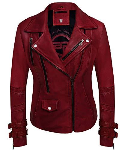 Bluepiel Poula - Chaqueta de piel para mujer, color rojo rojo S
