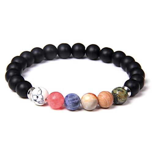 K-ONE Pulsera arcoíris, brazaletes de Lava de Piedra Natural para Mujeres, Hombres, meditación étnica, Equilibrio energético, Pulseras de Yoga