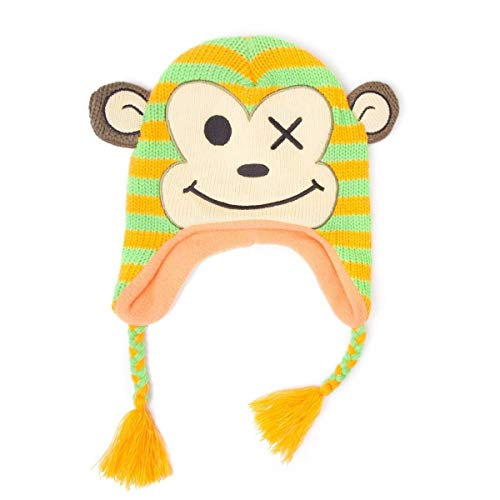 Freaks and Friends Bonnet Animal Tête de Singe Rayé Vert Orange