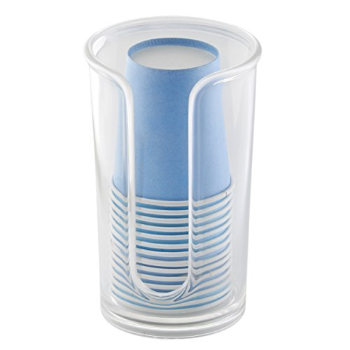 mDesign Modern Plastic Compact Small Disposable Paper Cup Dispenser - Storage Holder for Rinsing Cups on Bathroom Vanity Countertops - Clear