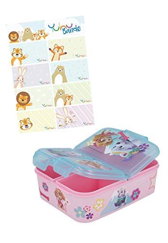Paw Patrol Skye Lunchdoos Brooddoos Kinderlunchbox met 3 afzonderlijk afsluitbare compartimenten + naamstickers voor…