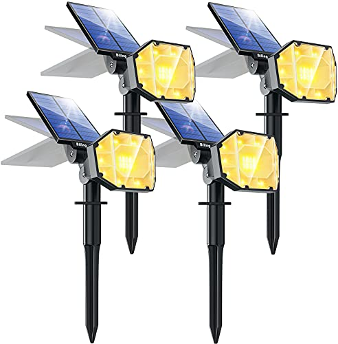Biling 30 LED Solar Landscape Lights Spotlight, 2-in-1 Bright Solar Lights Outdoor Landscaping Spotlights, Adjustable Garden Spot Lights Solar Powered IP67 Waterproof Wall Lights 4 Pack Warm White