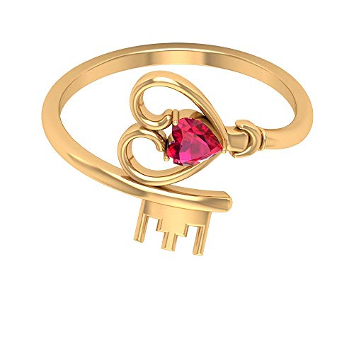 Rosec Jewels 14 quilates oro amarillo corazón Red Ruby