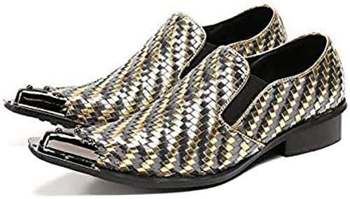 XLY Herren Herren Herren Crinkle Echtes Leder Smoking Slip On Loafers, Metallspitze Formal Dress Hochzeitsschuhe  Gratisversand