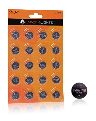 EmazingLights CR1620 Batteries 20 Pack 3V Lithium Button Cell Battery Pack